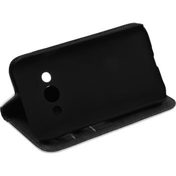 Kunst-Lederhülle für Samsung Galaxy Xcover 3 Book-Case weiß + 2 Schutzfolien