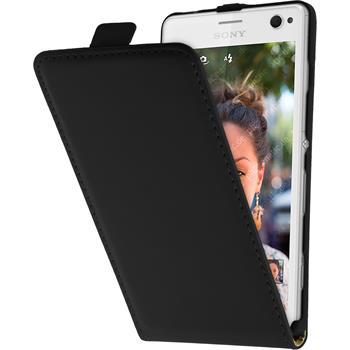 Kunst-Lederhülle Xperia C4 / Dual Flip-Case schwarz