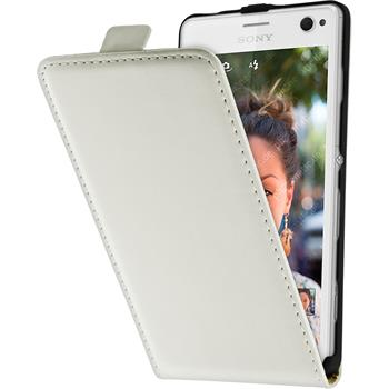 Kunst-Lederhülle Xperia C4 / Dual Flip-Case weiß
