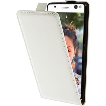 Kunst-Lederhülle Xperia C5 Ultra Flip-Case weiß