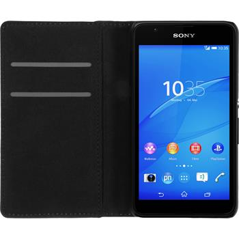 Kunst-Lederhülle für Sony Xperia E4g Book-Case weiß Case