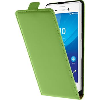 Artificial Leather Case for Sony Xperia M4 Aqua Flipcase green