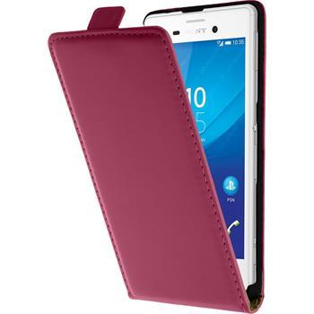 Kunst-Lederhülle Xperia M4 Aqua Flip-Case pink