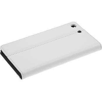 Kunst-Lederhülle Xperia M5 Book-Case weiß + 2 Schutzfolien