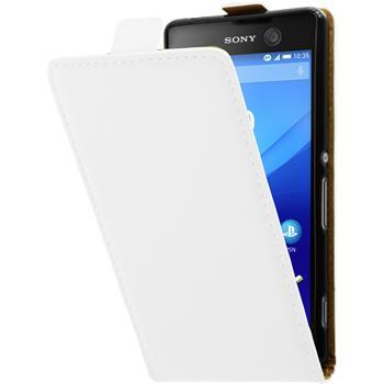 Kunst-Lederhülle für Sony Xperia M5 Flip-Case weiß + 2 Schutzfolien