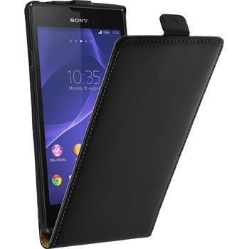 Kunst-Lederhülle für Sony Xperia T3 Flip-Case schwarz + 2 Schutzfolien