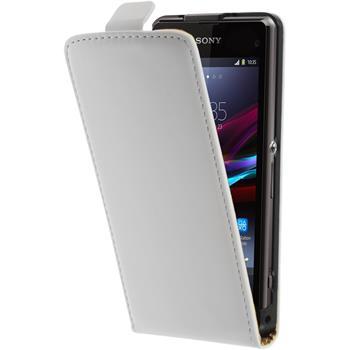 Kunst-Lederhülle für Sony Xperia Z1 Compact Flip-Case weiß + 2 Schutzfolien
