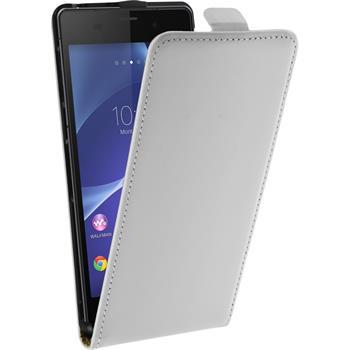 Kunst-Lederhülle für Sony Xperia Z3 Flip-Case weiß + 2 Schutzfolien
