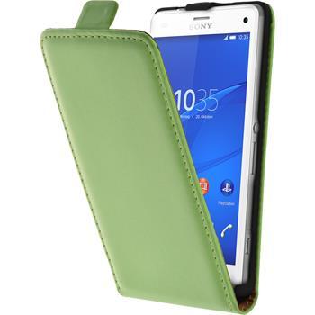 Kunst-Lederhülle für Sony Xperia Z3 Compact Flip-Case grün + 2 Schutzfolien