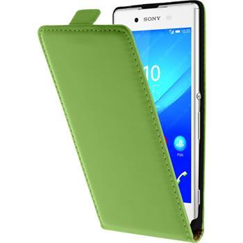 Kunst-Lederhülle für Sony Xperia Z3+ / Plus Flip-Case grün + 2 Schutzfolien
