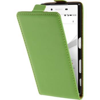 Kunst-Lederhülle für Sony Xperia Z5 Flip-Case grün + 2 Schutzfolien