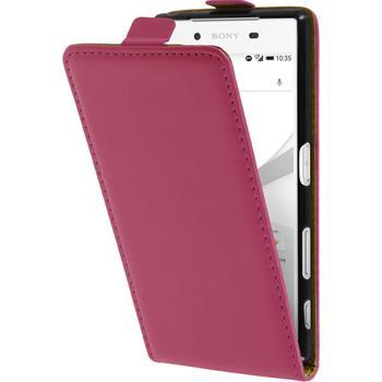Kunst-Lederhülle für Sony Xperia Z5 Flip-Case pink + 2 Schutzfolien