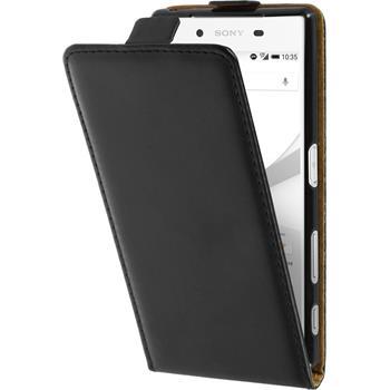 Kunst-Lederhülle Xperia Z5 Flip-Case schwarz