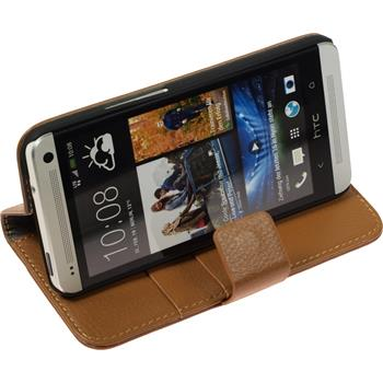 Artificial Leather Case for HTC One  brown