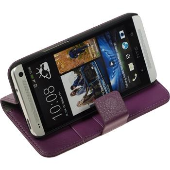 Artificial Leather Case for HTC One  purple