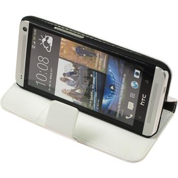 Artificial Leather Case for HTC One  white