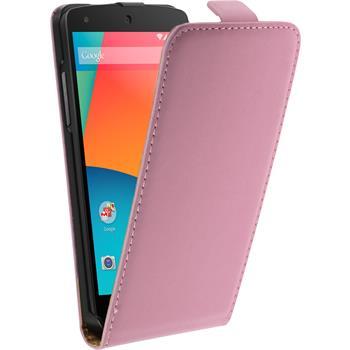 Kunst-Lederhülle Nexus 5 Flip-Case rosa