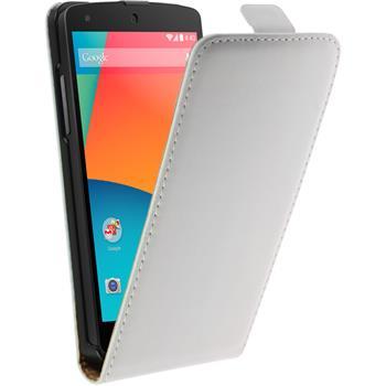 Kunst-Lederhülle Nexus 5 Flip-Case weiß