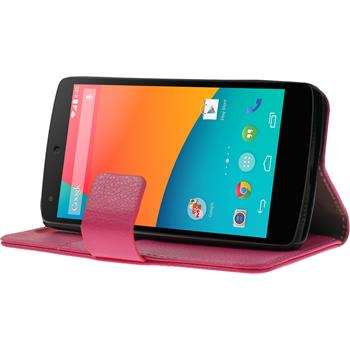 Artificial Leather Case for Google Nexus 5 Wallet hot pink