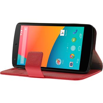 Artificial Leather Case for Google Nexus 5 Wallet red