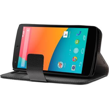 Artificial Leather Case for Google Nexus 5 Wallet black
