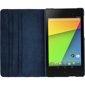 Artificial Leather Case for Google Nexus 7 2013 360° blue