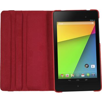Artificial Leather Case for Google Nexus 7 2013 360° red