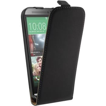 Kunst-Lederhülle One M8 Flip-Case schwarz