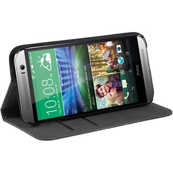 Artificial Leather Case for HTC One M8 Bookstyle black