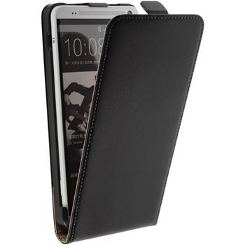 Kunst-Lederhülle für HTC One Max Flip-Case schwarz + 2 Schutzfolien