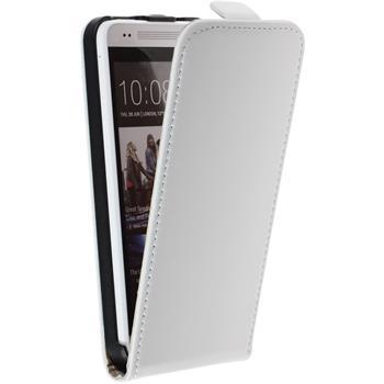 Kunst-Lederhülle für HTC One Mini Flip-Case weiß + 2 Schutzfolien