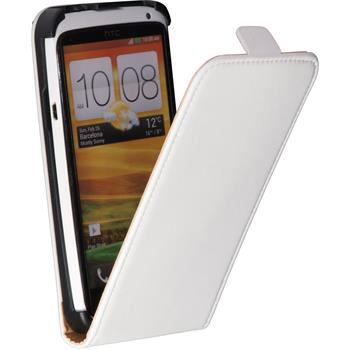Artificial Leather Case for HTC One X Flipcase white