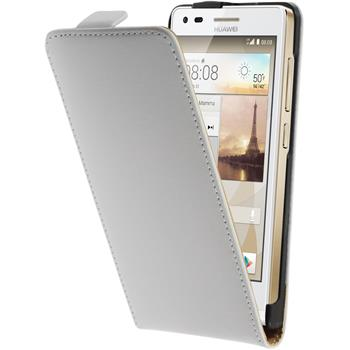 Artificial Leather Case for Huawei Ascend G6 Flipcase white