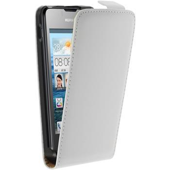 Kunst-Lederhülle für Huawei Ascend Y300 Flip-Case weiß + 2 Schutzfolien
