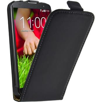 Kunst-Lederhülle für LG G2 mini Flip-Case schwarz + 2 Schutzfolien