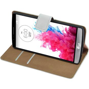 Artificial Leather Case for LG G3 Wallet white