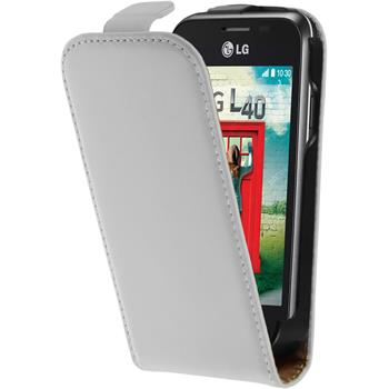Artificial Leather Case for LG L40 Flipcase white