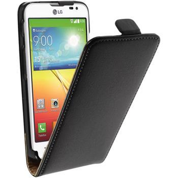 Kunst-Lederhülle für LG L70 Flip-Case schwarz + 2 Schutzfolien