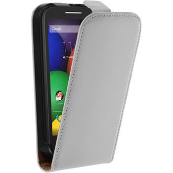 Kunst-Lederhülle für Motorola Moto E Flip-Case weiß + 2 Schutzfolien