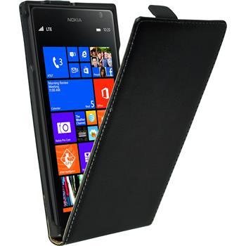 Kunst-Lederhülle Lumia 1520 Flip-Case schwarz