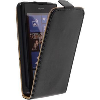 Kunst-Lederhülle Nokia Lumia 525 Flip-Case schwarz + 2 Schutzfolien