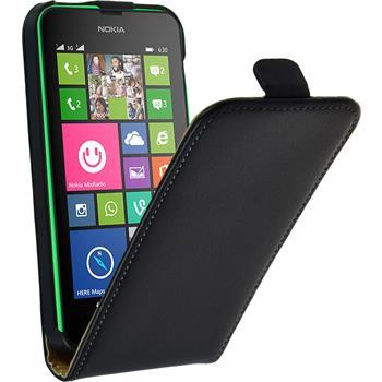 Kunst-Lederhülle Lumia 630 Flip-Case schwarz