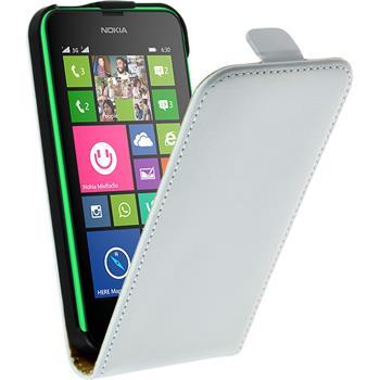 Kunst-Lederhülle für Nokia Lumia 630 Flip-Case weiß + 2 Schutzfolien