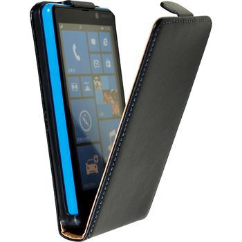 Kunst-Lederhülle für Nokia Lumia 820 Flip-Case schwarz + 2 Schutzfolien