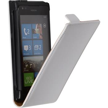 Kunst-Lederhülle Lumia 900 Flip-Case weiß