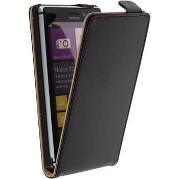 Kunst-Lederhülle Lumia 925 Flip-Case schwarz