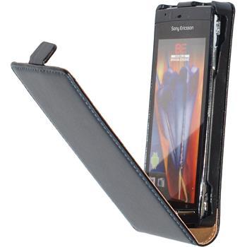 Kunst-Lederhülle Xperia Arc S Flip-Case schwarz