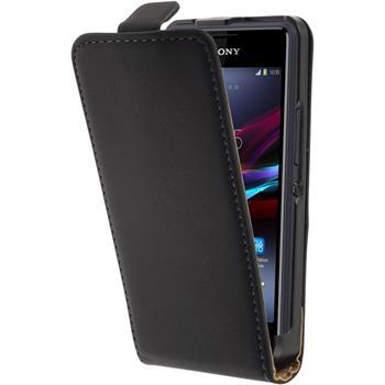 Kunst-Lederhülle Xperia E1 Flip-Case schwarz