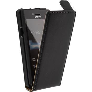 Kunst-Lederhülle für Sony Xperia miro Flip-Case schwarz + 2 Schutzfolien