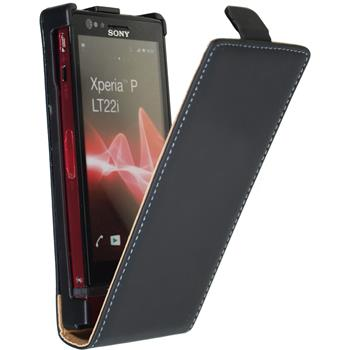 Artificial Leather Case for Sony Xperia P Flipcase black
